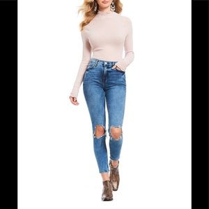 Free People High Rise Busted Skinny Jean Blue 24